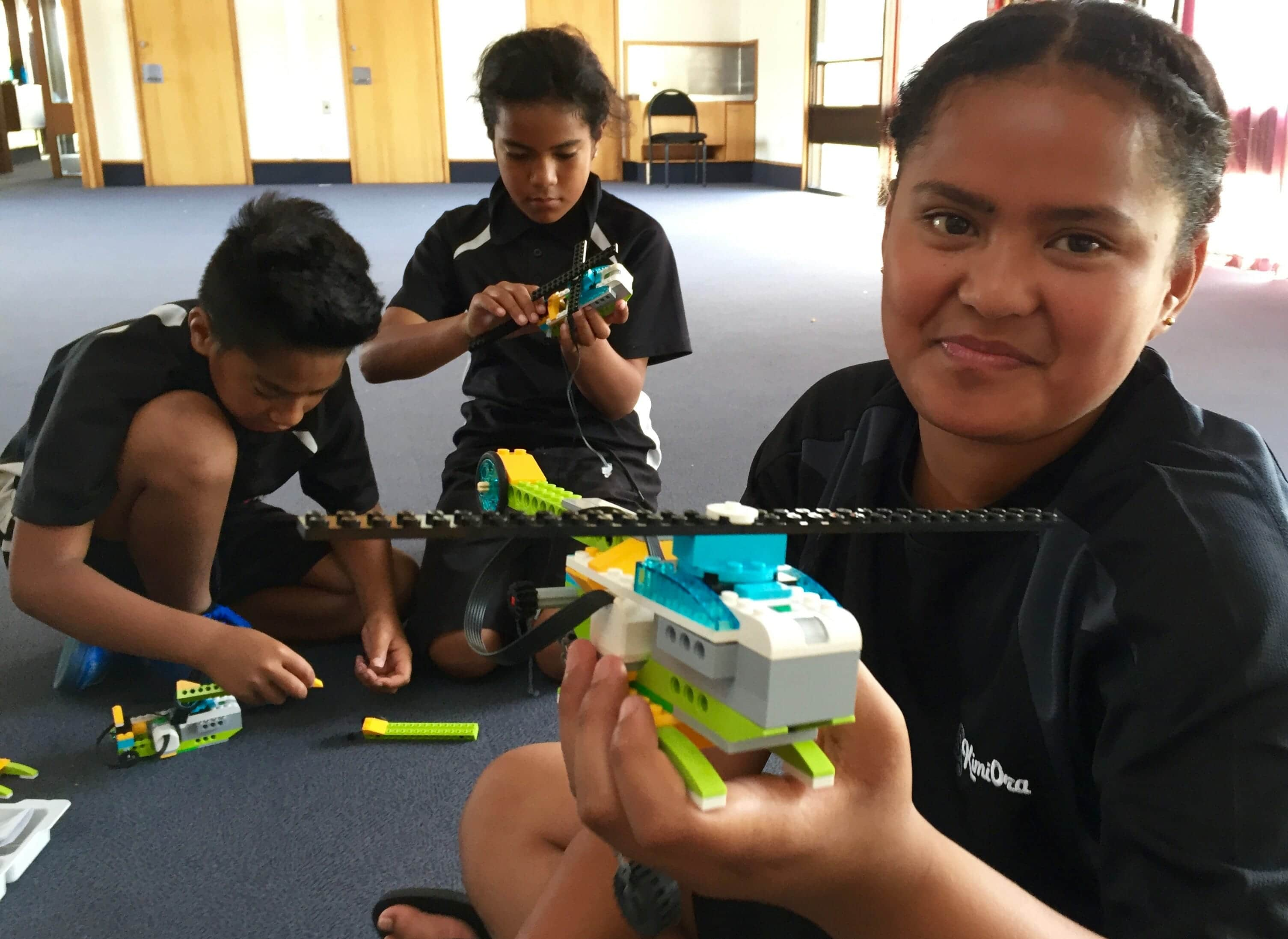 Kimi Ora Community School Year-6 student Lola Toliau shows off her helicopter creation. Lego and robotics are just some of the technologies used to advance student learning at the Flaxmere School.
