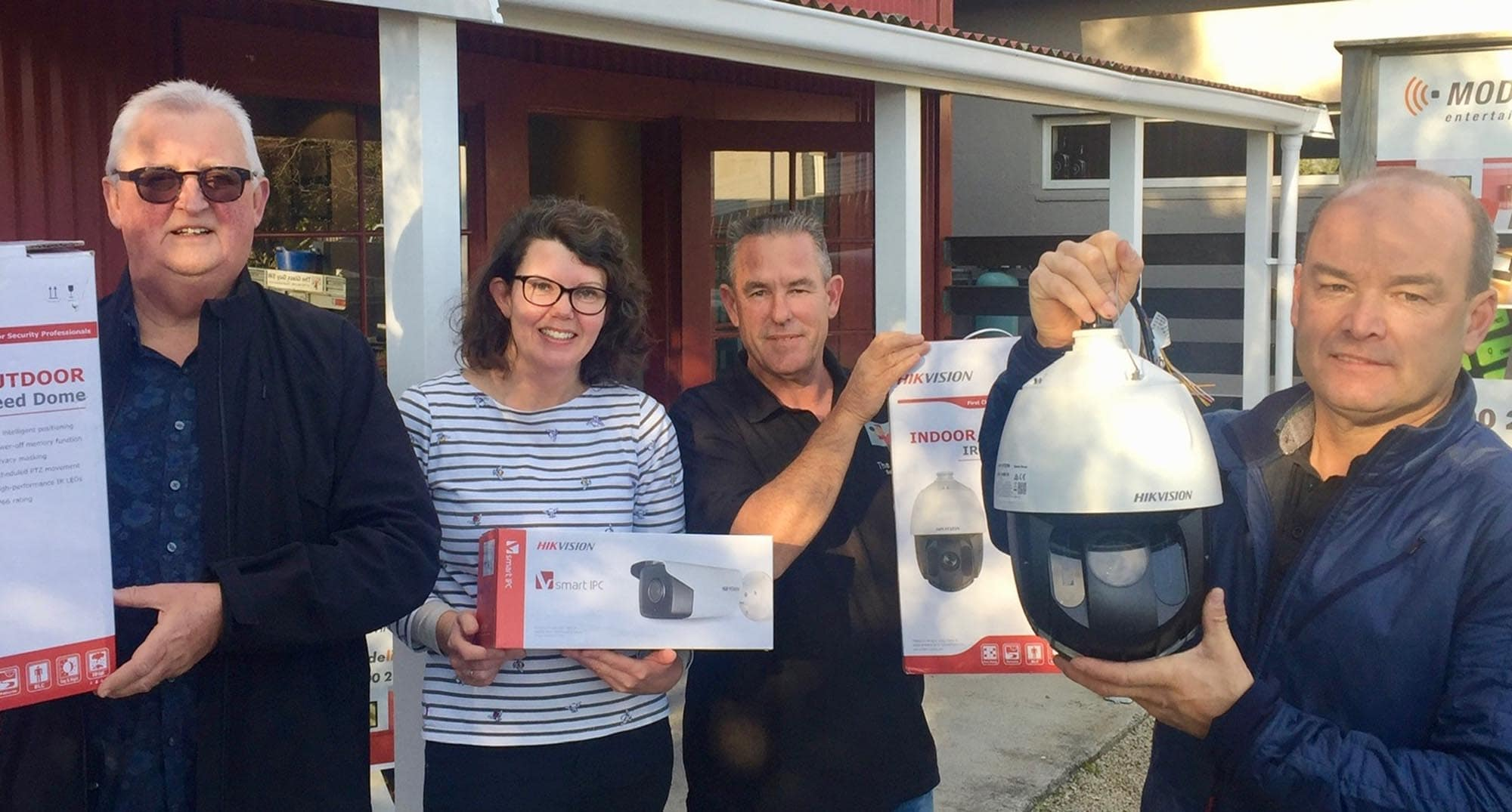 Tony Stevenson of Martinborough-based business Securatel Smarter Living is set to begin installation of CCTV cameras in town. Also pictured, (from left), from the Martinborough Business Association is Allan Hogg, Charlotte Harding and Mike Anders.